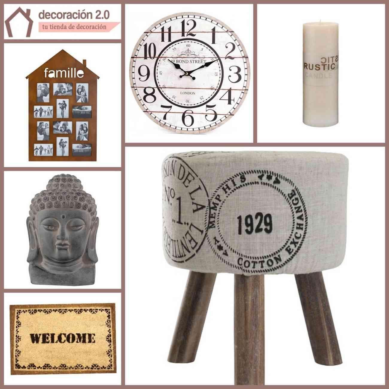 tienda de decoración online - reloj, felpudo, vela, fotos, buda