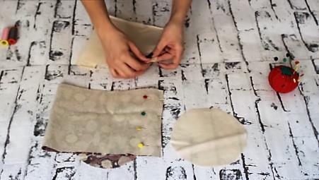 cestas de tela redondas - cerrando lateral forro cesta tela