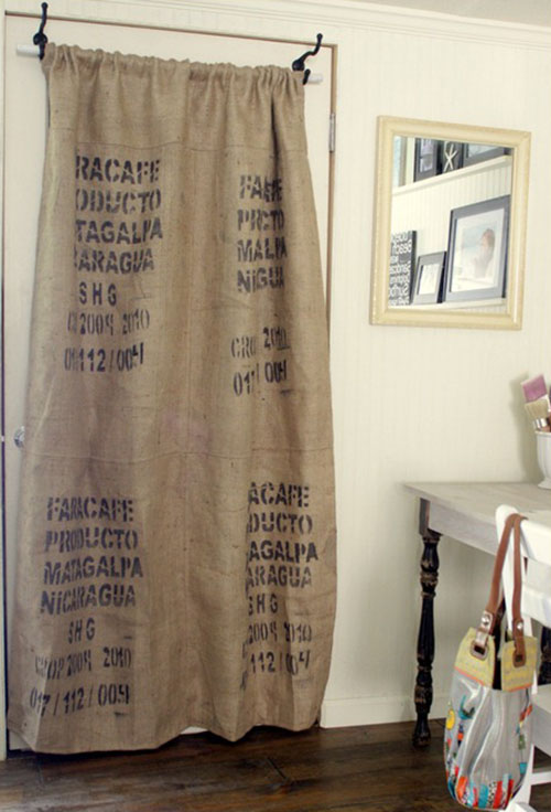 tela de arpillera para decorar coffee sack curtain