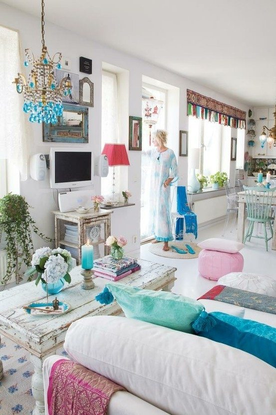 Las claves para decorar un sal n boho deco chic - Decoracion estilo hippie chic ...