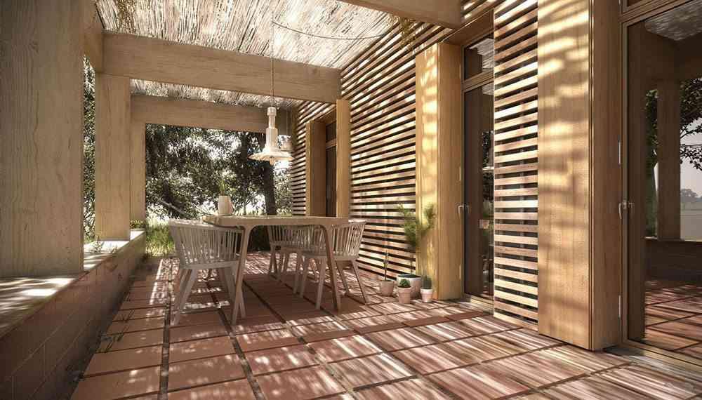 casas ecologicas en espana porche