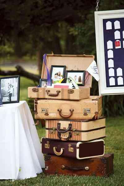 decoracion de bodas vintage maletas