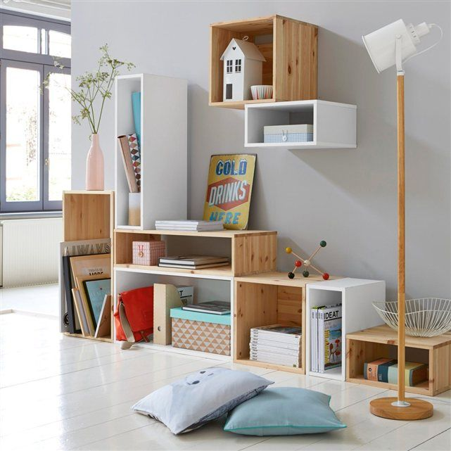 5 ideas para crear estanter as con cajas de madera for Estanteria pared madera