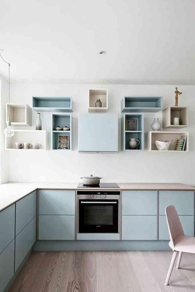 estanteras con cajas de madera como muebles de cocina - Estanterias Con Cajas