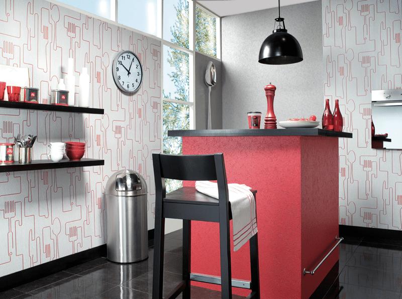 3 modelos de papel pintado para cocinas for Papeles vinilicos para empapelar