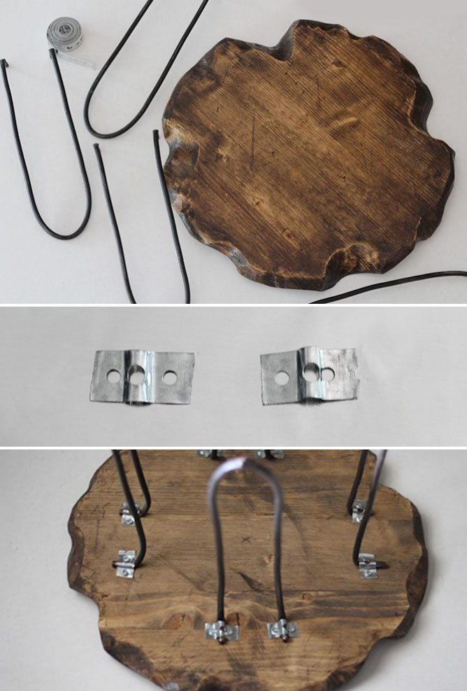 mesa auxiliar de madera y metal atornillar patas