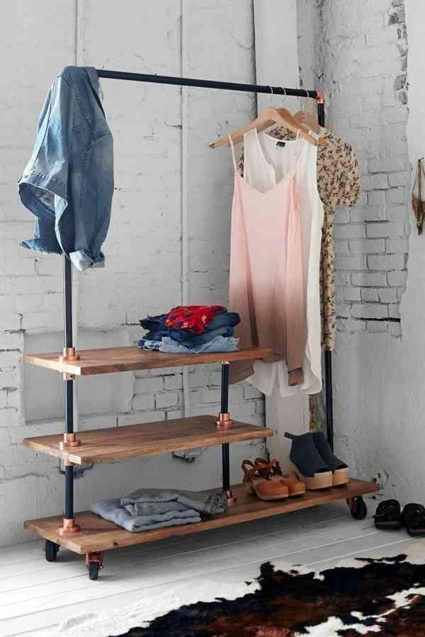 ideas para vestidores avso perchero con baldas