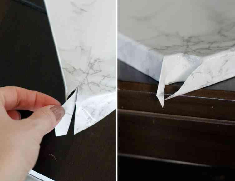 mesilla de noche con efecto marmol esquinas