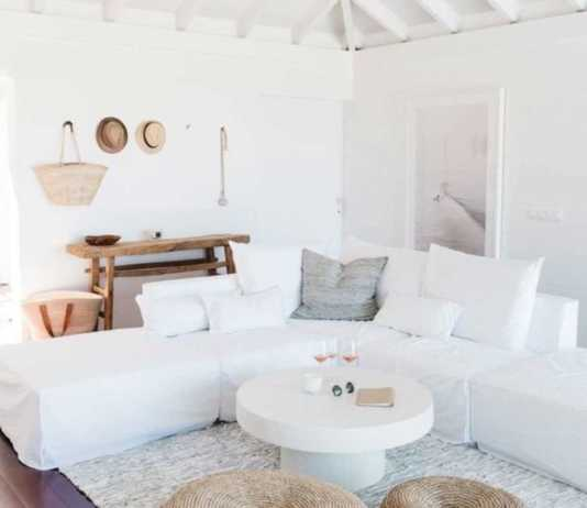 decoración de pisos en blanco y esparto