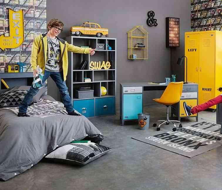 habitaciones juveniles de estilo industrial maison gris y amarillo