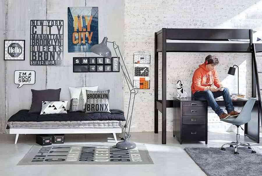 Las mejores habitaciones juveniles de estilo industrial for Habitacion decoracion industrial