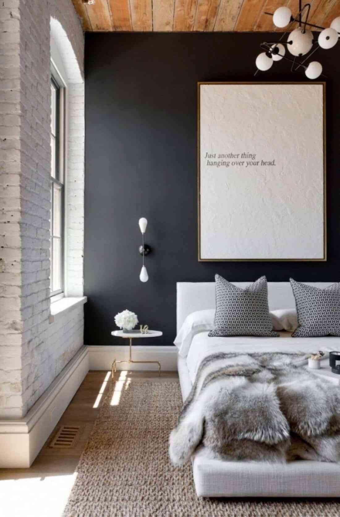 Dormitorio con gris marengo