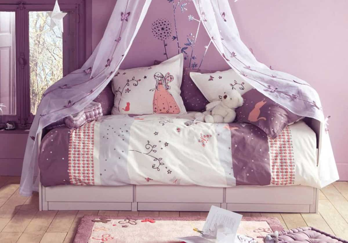 color malva en habitaciones infantiles