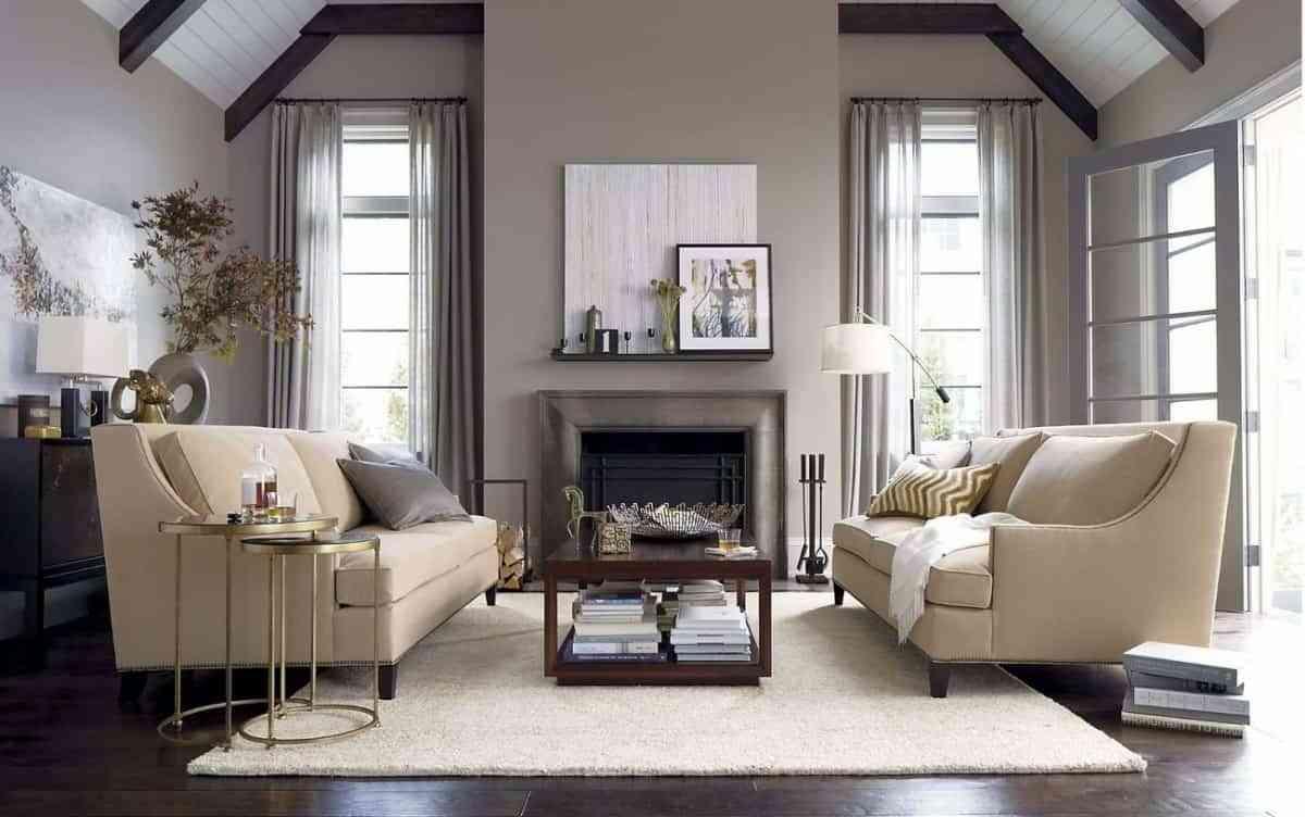cortinas en el salón en tonos grises