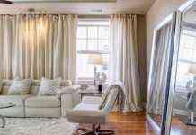 cortinas en el salón en color beige