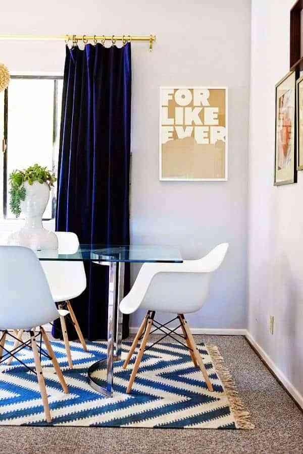 cortinas en el salón en terciopelo