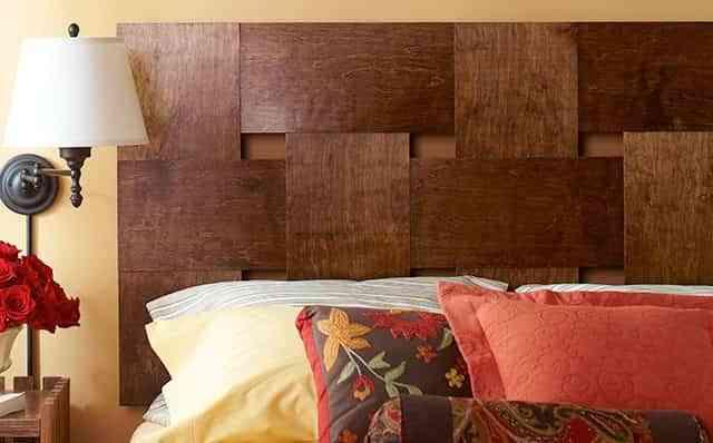 cabeceros caseros de láminas de madera trenzada