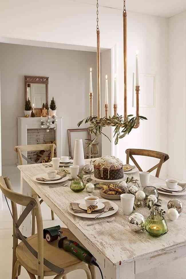 Diy c mo hacer un candelabro colgante para iluminar la mesa - Mesa colgante para balcon ...