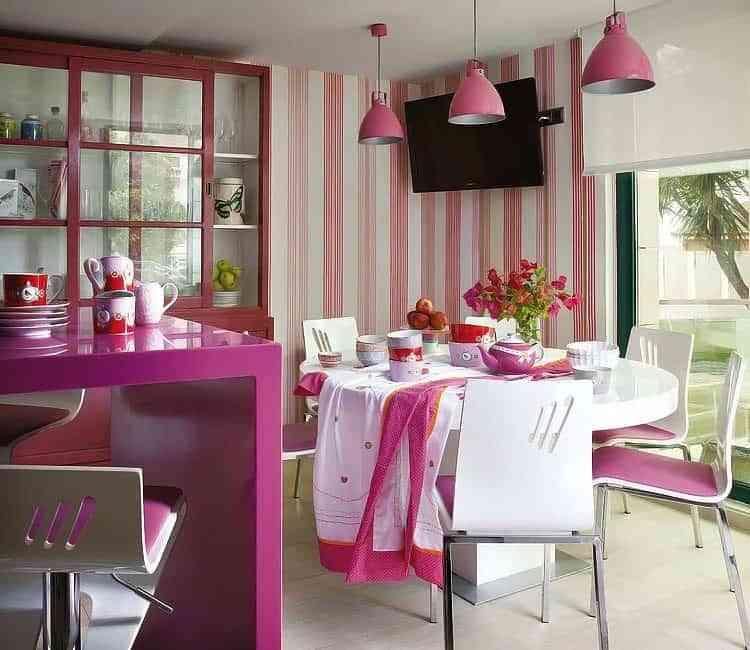 decoración color rosa tonos fuertes