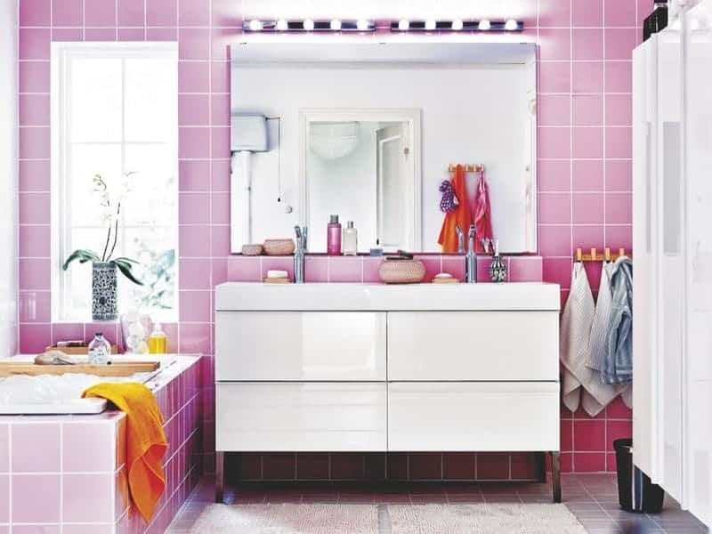 decoración color rosa - baño