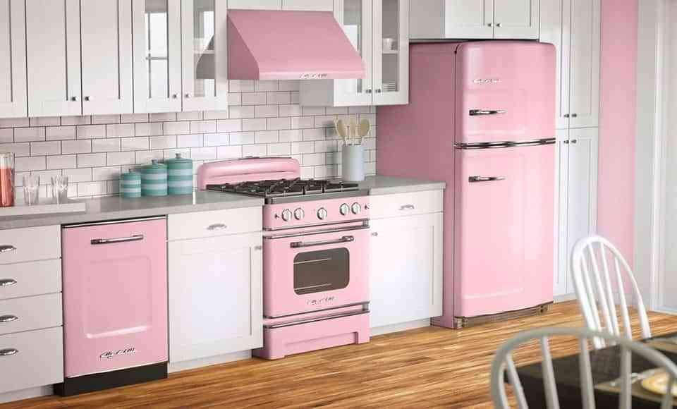 decoración color rosa - cocina
