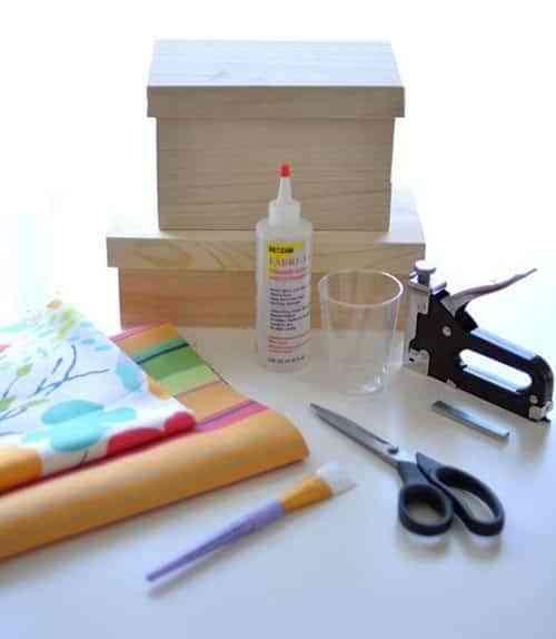 cajas con tela materiales