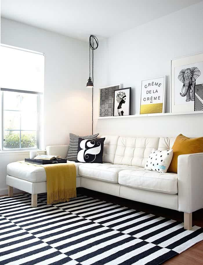 Salón en blanco y negro: la combinación de color perfecta