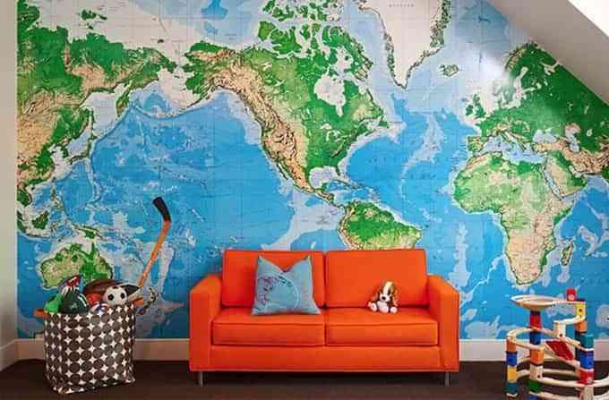 habitación de los niños con mapas kiddley