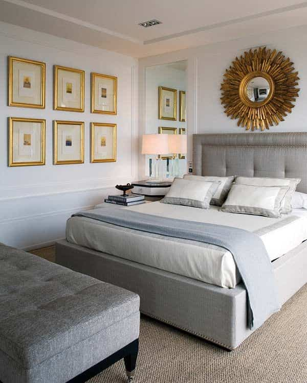 Headboards upholstered with studs