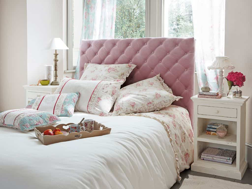 Upholstered pink headboards