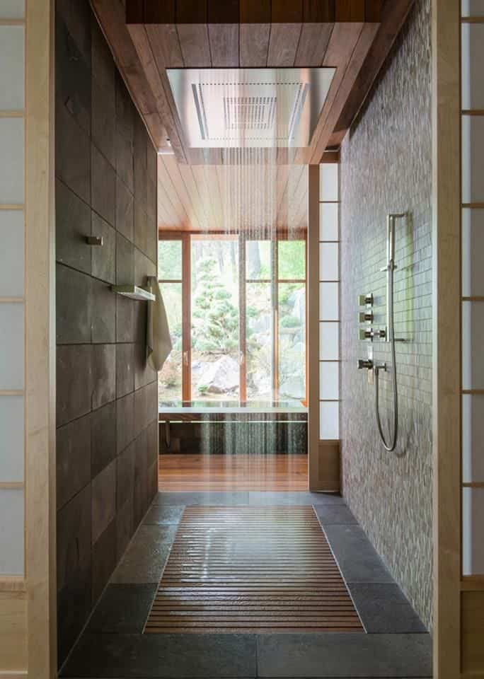 rain shower with wooden floor