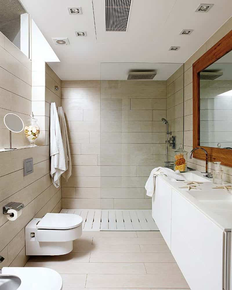 rain shower in small bathroom