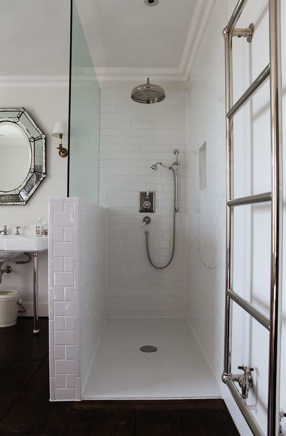 shower type rain in white bathroom