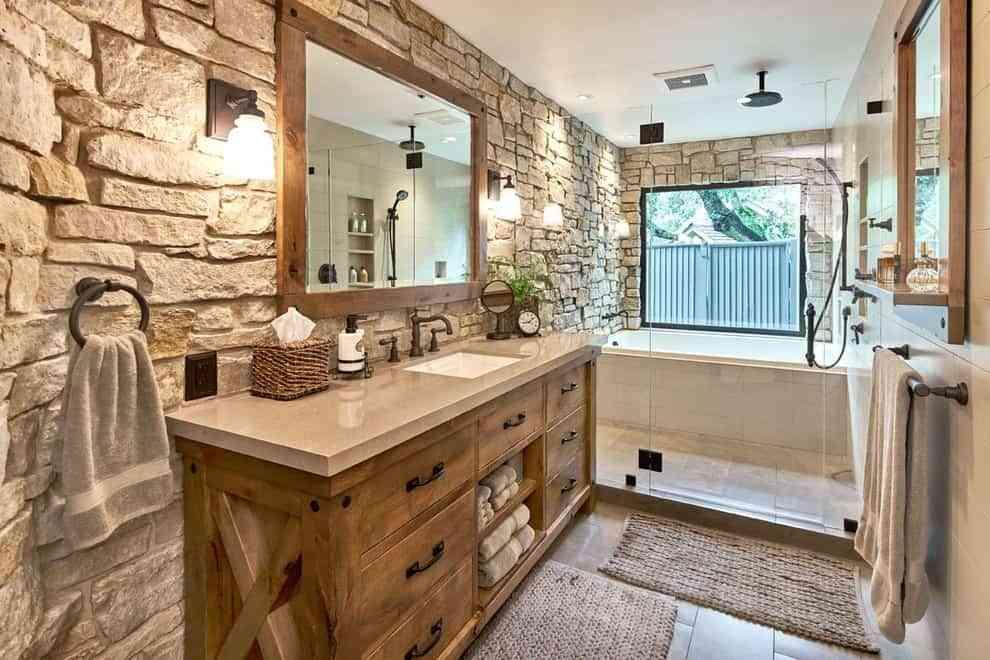 baños rústicos - iluminación