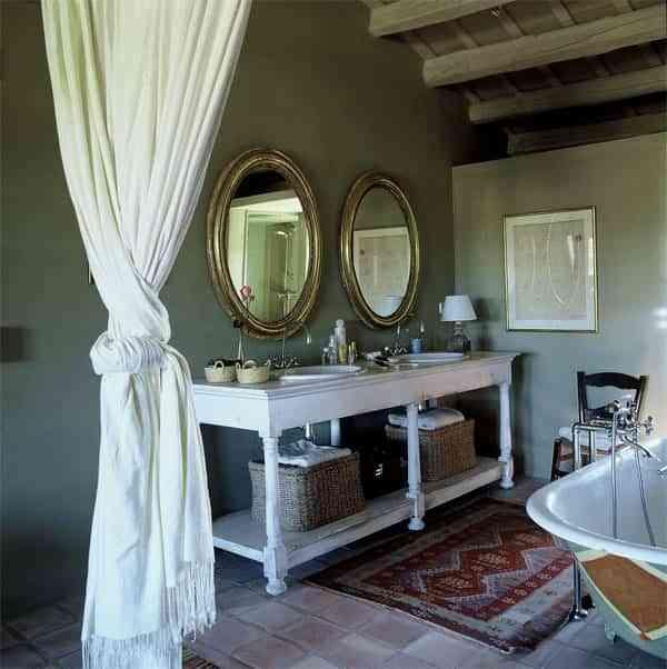 baños rústicos - espejos vintage