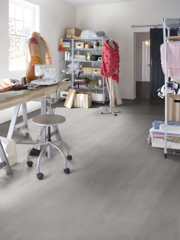 Linoleum floors in work areas