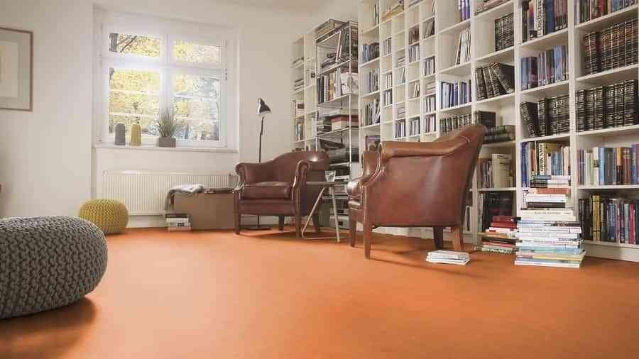 Linoleum floors in orange