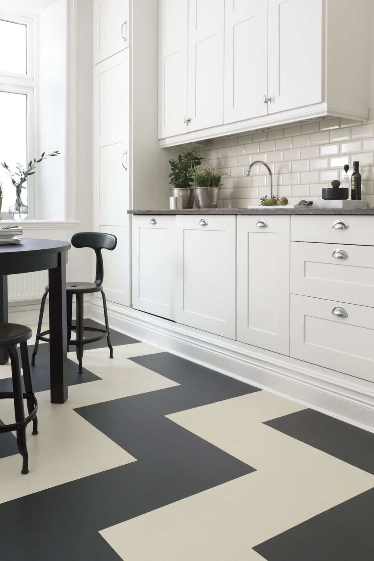 Linoleum floors in the kitchens