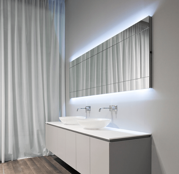 Bathroom mirrors with backlighting