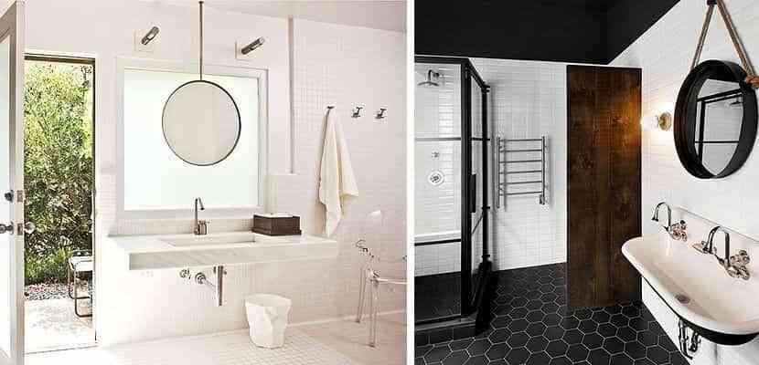 Espejos de baños redondos vintage