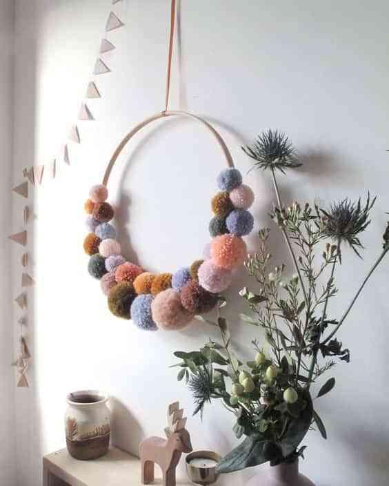 decorar con pompones de lana VI