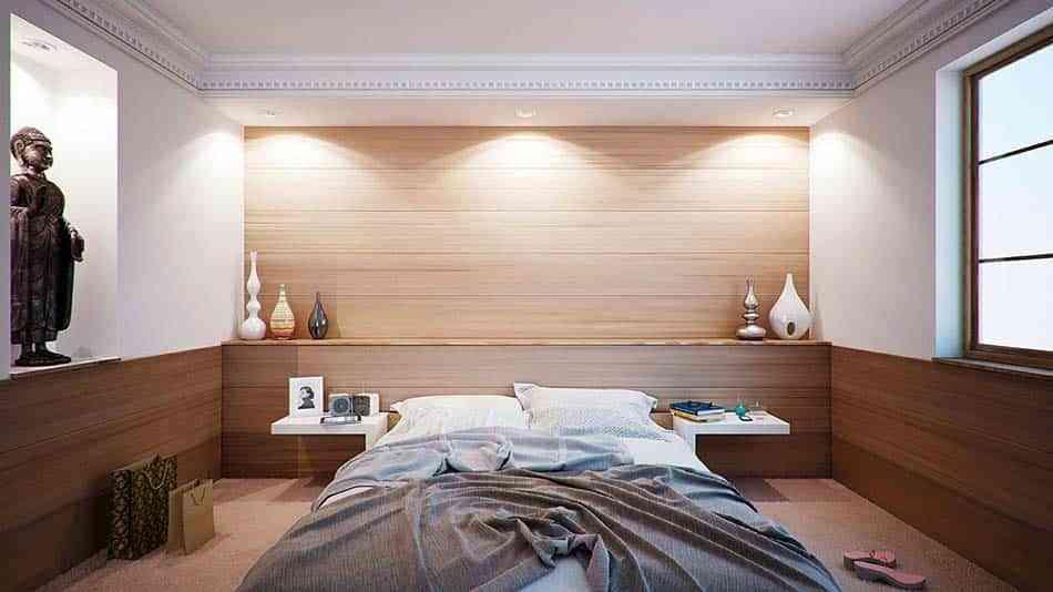 dormitorio, habitación, madera