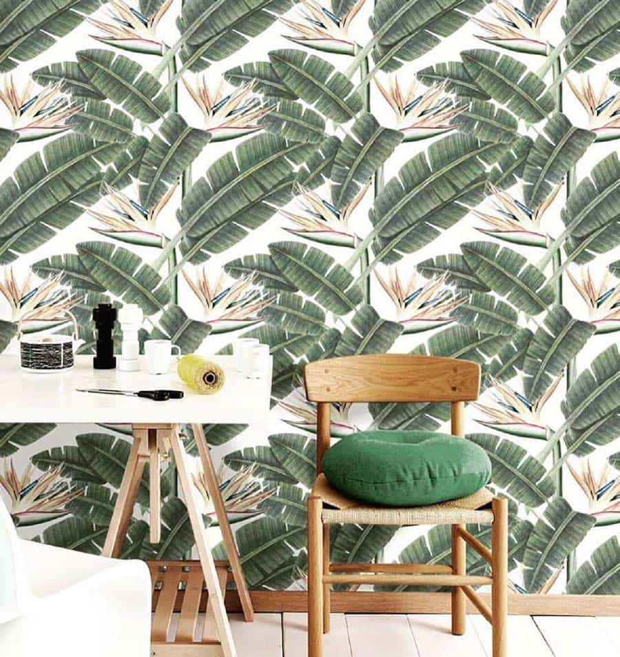 tropico en casa, estilo tropical, papel pintado