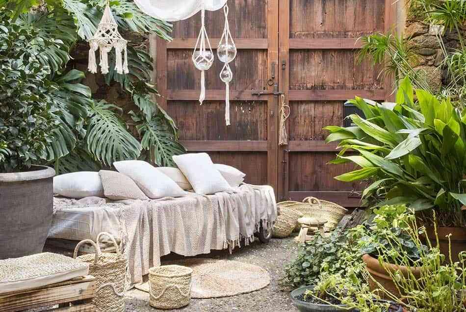 terraza todo el año, textiles, complementos jardín