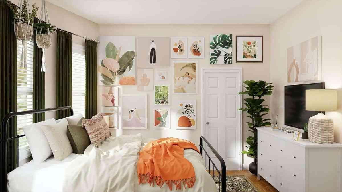 cuadros con hojas en el dormitorio