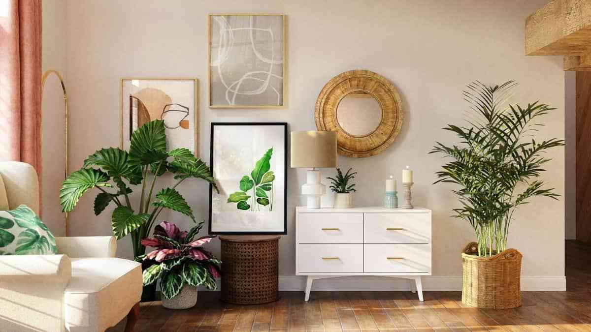 paredes con cuadros con hojas