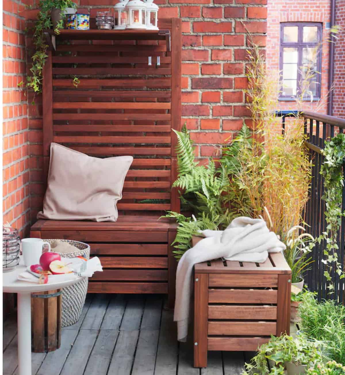 banco con almacenaje para la terraza ikea