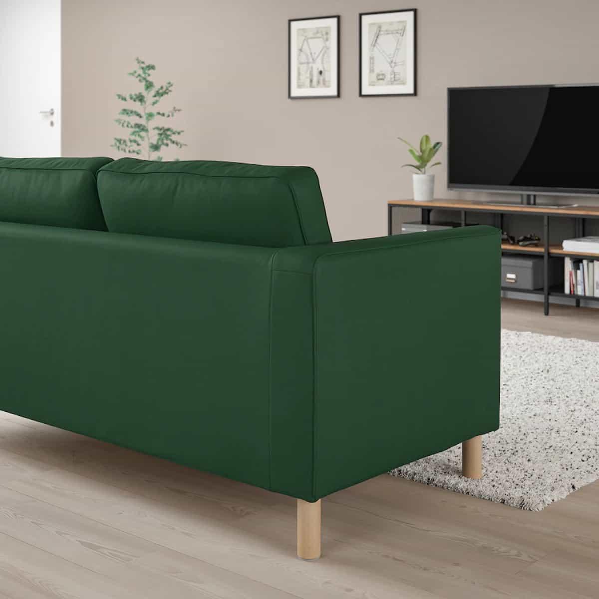 sofa verde parup de ikea tres plazas