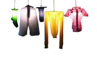 lámparas hechas con ropa