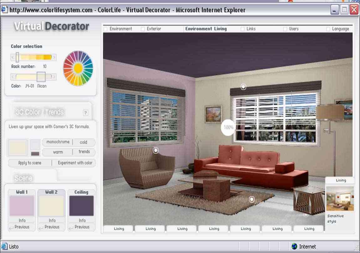 Jugar con el color de los muros sin gastar dinero ni for Decorador de interiores virtual